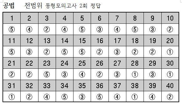 2019년 공법-9월23일 전범위동형모의고사 2회 정답.png